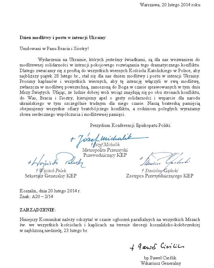 Dzień modlitwy i postu w intencji Ukrainy