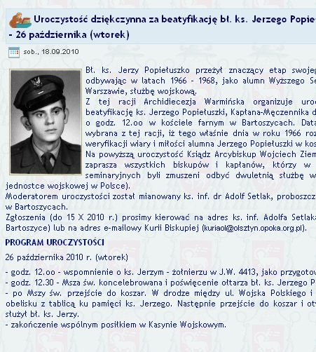 Uroczystość dziękczynna za beatyfikację ks. Jerzego Popiełuszki