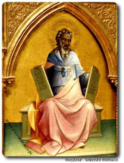Mojżesz trzymający tablice Dziesięciu przykazań Bożych