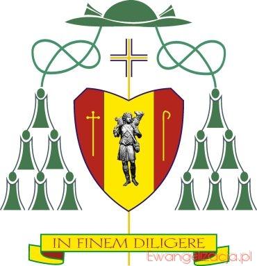 Tarcza herbowa nowego biskupa ma kształt serca.
