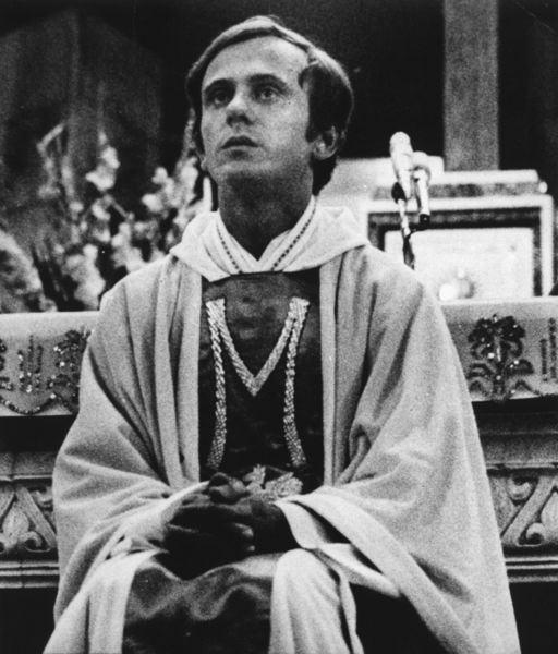 Ĺšródło Photo reproduction sold as a keepsake before 1990 Jerzy Popiełuszko (1947-1984) catholic priest from Poland, associated with the